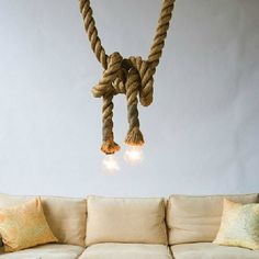 Unique hemp rope LED pendant light by ThoughtLEDlighting on Etsy https://www.etsy.com/ca/listing/464806739/unique-hemp-rope-led-pendant-light