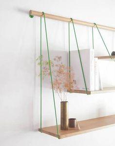 Tri-level hanging shelves.