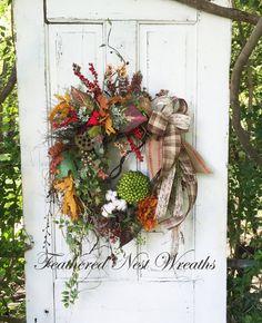 Fall Door Wreath Fall Decor Door Decor By FeatheredNestWreaths