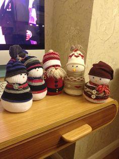 Sock snowmen and Santa
