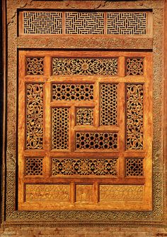 A wooden screen in the Mausoleum of Rukn-i-'Alam, Multan; an illustration in Islamic Architecture of Pakistan by Ahmad Nabi Khan