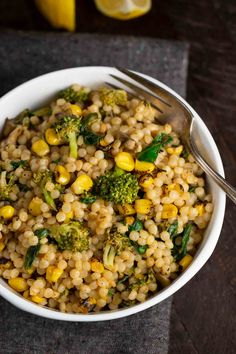This Roasted Corn Israeli Couscous is so simple to make in just 30 minutes. Using frozen roasted corn, you can make this light and lemony dish any time of year. Vegan Couscous Recipes, Couscous Quinoa, Pearl Couscous Recipes, Couscous How To Cook, Vegan Foods, Vegetarian Recipes, Healthy Recipes, Healthy Dishes, Breakfast