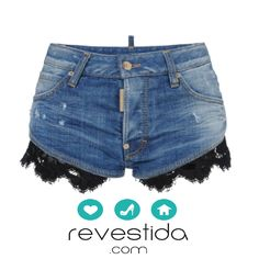 Denim Shorts with Lace - Lace Jean Shorts, Studded Shorts, Studded Denim, Cute Shorts, Men Shorts, Short Shorts, Dsquared2, Cute Outfits, My Style