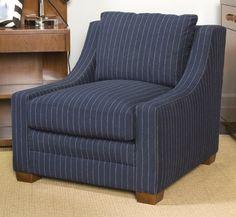 Ralph Lauren Modern Equestrian Lounge Chair...in navy pinstripe!  www.PacificHeightsPlace.com
