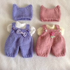 Hand knitted dolls clothes fit 5ins berenguer doll 2xsets