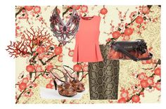 """""""coral and brown"""" by mimmiandkinkistatementjewelry ❤ liked on Polyvore featuring MICHAEL Michael Kors, Diane Von Furstenberg, Miu Miu and Just Cavalli"""