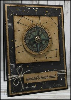 handmade Father's Day card ... kraft and black .. stars and compass ... great card ... Stampin' Up!