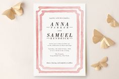 """Watercolor Frame"" - Wedding Invitations in Coral by Laura Condouris."