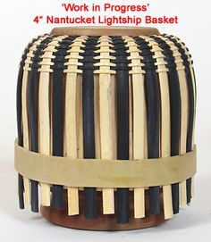 I love the black dyed cane being used to create this Nantucket Lightship basket! Can't wait to experiment with more colored reed.