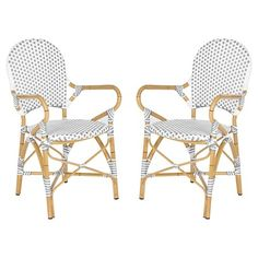 $270 Safavieh Biarritz 2-Piece Wicker Patio Arm Chair : Target