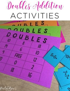Addition FREEBIE Doubles Addition Teaching Ideas that are great for first graders! I love the song that this teacher shared, too!Doubles Addition Teaching Ideas that are great for first graders! I love the song that this teacher shared, too! Doubles Addition, Math Doubles, Doubles Facts, Doubles Song, Math Addition Games, Math Strategies, Math Resources, Math Activities, Subtraction Activities