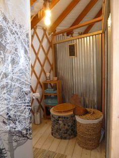 Check out this awesome listing on Airbnb: DIY composting toilet, yurt bathroom, . Check out this awesome listing on Airbnb: DIY composting toilet, yurt bathroom, Green Sky Yurt Retreat - Yurts for Rent in Durango Yurt Living, Tiny Living, Outdoor Living, Cabin Bathrooms, Outdoor Bathrooms, Farmhouse Bathrooms, Le Mole, Glamping, Yurt Interior