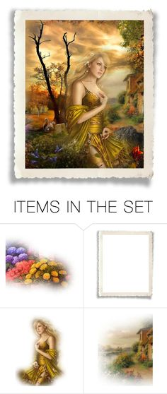 """""""Lady in Gold Dress"""" by wildnature ❤ liked on Polyvore featuring art"""