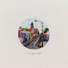 Day 139 : The Bo-Kaap, formerly known as the Malay Quarter, is situated on the slopes of Signal Hill. The area is known for its brightly coloured homes and romantic cobble stoned streets. 27 x 27 mm. #365postcardsforants #miniature #watercolour #art #wdc624 #bokaap #capetown #capemalay #colours