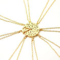 Best Friends Gold Pendant Necklace 8 Pieces -----Creative Pizza Style for Friends