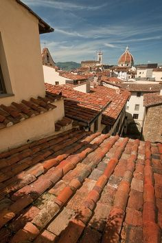 View over the rooftops of Florence from the terrace bar of the Hotel Degli Orafi