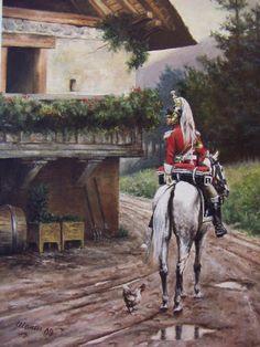 Le trompette et la cocotte. Trombettiere del II Reggimento Corazzieri, tenue de service 1806. Omaggio ad Edouard Detaille