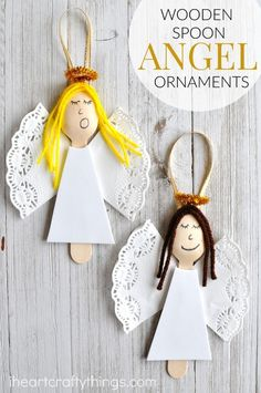 These wooden spoon angel Christmas ornaments are elegant and will add a pretty touch to your tree every year. Great homemade Christmas ornament for kids. projects for kids homemade Wooden Spoon Angel Christmas Ornaments Christmas Angel Crafts, Kids Christmas Ornaments, Preschool Christmas, Homemade Christmas, Christmas Christmas, Christmas Poinsettia, Crochet Christmas, Christmas Decorations Diy For Kids, Homemade Decorations