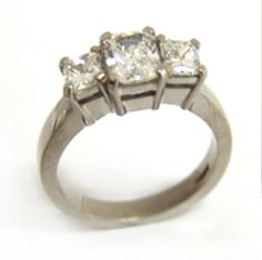 18ct White Gold and Princess Cut Diamond Ring made at Cameron Jewellery