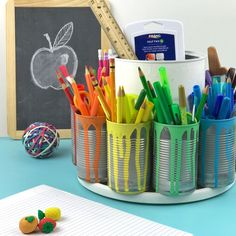 21 Cool School Supplies We Really, Really Want DIY color-coded craft station The best DIY projects & DIY ideas and tutorials: sewing, paper craft, DIY. Ideas About DIY Life Hacks & Crafts 2017 / 2018 Make the Ultimate Homework Station! Watch how to DIY th Craft Room Storage, Craft Organization, Diy Organizer, Art Storage, Storage Ideas, Crayon Storage, Cardboard Organizer, Craft Storage Solutions, Marker Storage