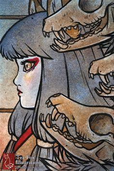 Kitsune Demon Fox Skull Japanese Art Yokai by TeaFoxIllustrations, $6.00