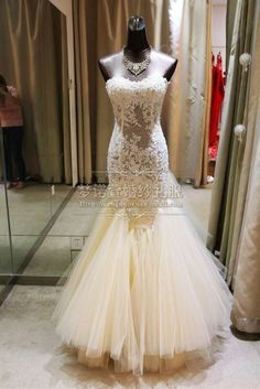 Real Sample See Through Corset Lace Beads With Long Train Mermaid Wedding Dress