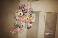 Beautiful floral garlands composed of ivory faux suede adjustable tie, mulberry flowers. Newborn photography prop by Princess & the Pea Photography Props