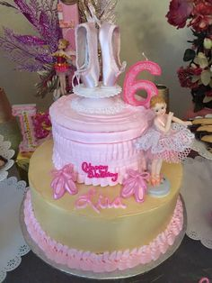 Beautiful cake at a ballerina birthday party! See more party planning ideas at CatchMyParty.com!
