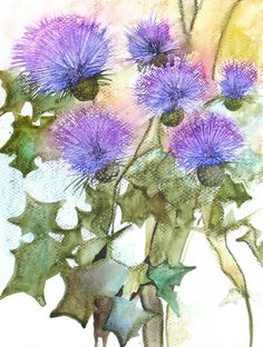 Bloomed+Thistles++original+watercolor+painting+one+by+FluidColors,+$72.00