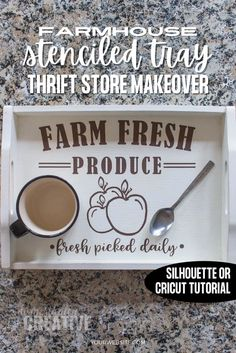 This is an easy upcyle project for a cute Farmhouse style stenciled serving tray. All you need is paint and a stencil to make, or use a Cricut or Silhouette machine. Repurposed Items, Upcycled Crafts, Diy Home Crafts, Decor Crafts, Crafts To Make, Diy Home Decor, Creative Crafts, Diy House Projects, Diy Craft Projects