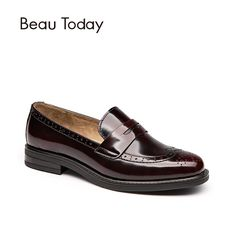 BeauToday Penny Loafer Women Genuine Cow Leather Round Toe Slip On Shoes Style Patent Leather Brogue Flats Handmade 27039