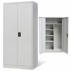 Metal Storage Locker Cabinet Home Office Garage Commercial Doors Shelves Gray Unspecified