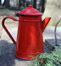 Enamel Teapot  Vintage Red Tea Pot  Enamel Teapot  by NarMag