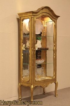 antique silver finish curio cabinet | SOLD - Gold Curio Cabinet or Vitrine - Harp Gallery Antique Furniture