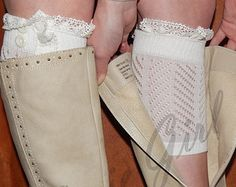 Cute Off-White Ivory Boot Cuffs socks vintage lace trim and buttons fashion