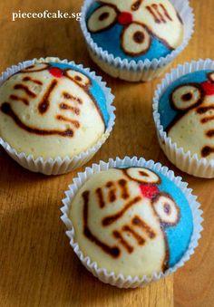 Steamed Doraemon Cupcakes