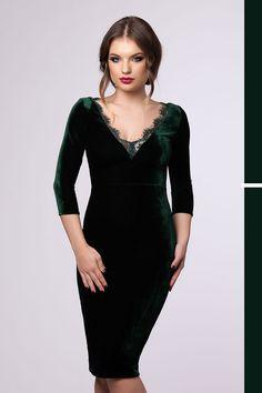 Midi elegant velvet dress with lace inserts in emerald hues: https://missgrey.org/en/dresses/emerald-velvet-dress-with-midi-lenght-and-lace-inserts-sandra/428?utm_campaign=noiembrie&utm_medium=rochie_sandra_verde&utm_source=pinterest_produs