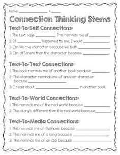 Each of my students gets a copy of this chart to place in their reader's notebook. I hope you find it useful in your classroom to help your students make MEANINGFUL connections. Comprehension Strategies, Reading Strategies, Reading Skills, Reading Comprehension, Guided Reading, Reading Response, Reading Intervention, Thinking Stems, Text To Text Connections