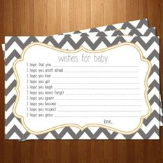 DIY Printable Grey and Yellow Chevron Baby Shower Wishes For Baby Card Little Man Shower, Blue Punch, Baby Shower Wishes, Wishes For Baby Cards, Baby Shower Yellow, Yellow Chevron, Baby Boy, Printable, Crafty