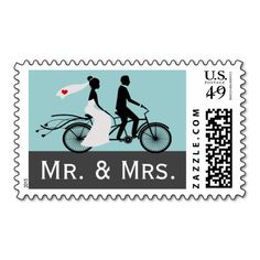 Cute Tandem Bike Bride And Groom mr and mrs Wedding postage .. wedding stamps in grey and aqua tones featuring a bride in a wedding dress with a small red heart on the veil and a groom in his suit - modern wedding products .. personalized / customizable wedding stamps from Ricaso