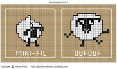 Shaun the sheep Knitting Charts, Knitting Stitches, Baby Knitting, Knitting Patterns, Crochet Patterns, Loom Bands, Cross Stitch Designs, Cross Stitch Patterns, Cross Stitching