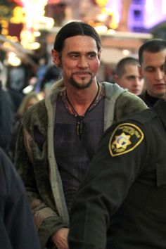 Jim Carrey sports a fake wound on the set of 'Burt Wonderstone' as he filmed scenes on Fremont Street in downtown Las Vegas.