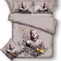 New Arrival Sexy Marilyn Monroe and Butterflies Print 4 Piece Bedding Sets #4pcsbeddingset #luxurybeddingset  @beddingtons bed & bath inn
