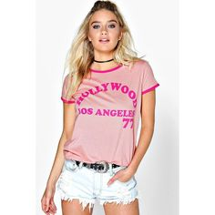Boohoo Bella Slogan Contrast Ringer Tee ($14) ❤ liked on Polyvore featuring tops, t-shirts, peach, long sleeve layering tee, long sleeve tee, crew neck t shirt, pink t shirt and pink crop top