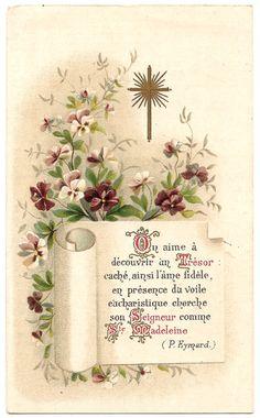 Gold Cross & Violets Antique Vintage Goldprint by 12StarsVintage
