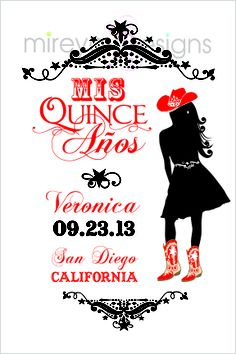 Cowgirl Quinceanera or Sweet 16 Invitation