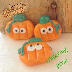 Lampwork Beads Halloween Pumpkin for jewllery making by GlitteringprizeGlass on Etsy