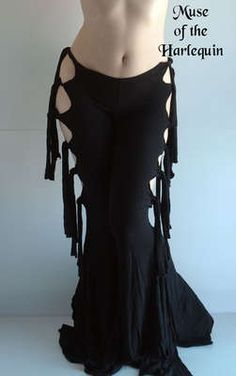 Black-Gothic-Sexy-Circus-Tribal-Fusion-Belly-Dance-Hoop-Pants-Industrial-M-Punk