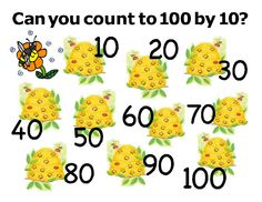 100th Day of School count by 10 poster in fun bees and beehives design.