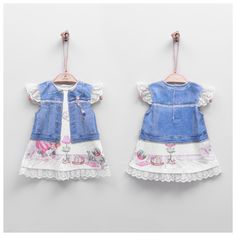 Baby Girl Digital Printed Denim Dress with Lace Details & Room Decorated Printed Denim, Comfortable Outfits, Lace Detail, Organic Cotton, Lace Dress, Girl Outfits, 3d, Summer Dresses, Digital